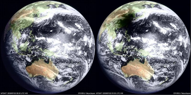 Ombre de l'éclipse solaire sur la terre vue de l'espace
