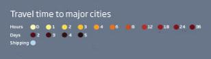access map legende Combien de temps pour arriver à la ville la plus proche ?