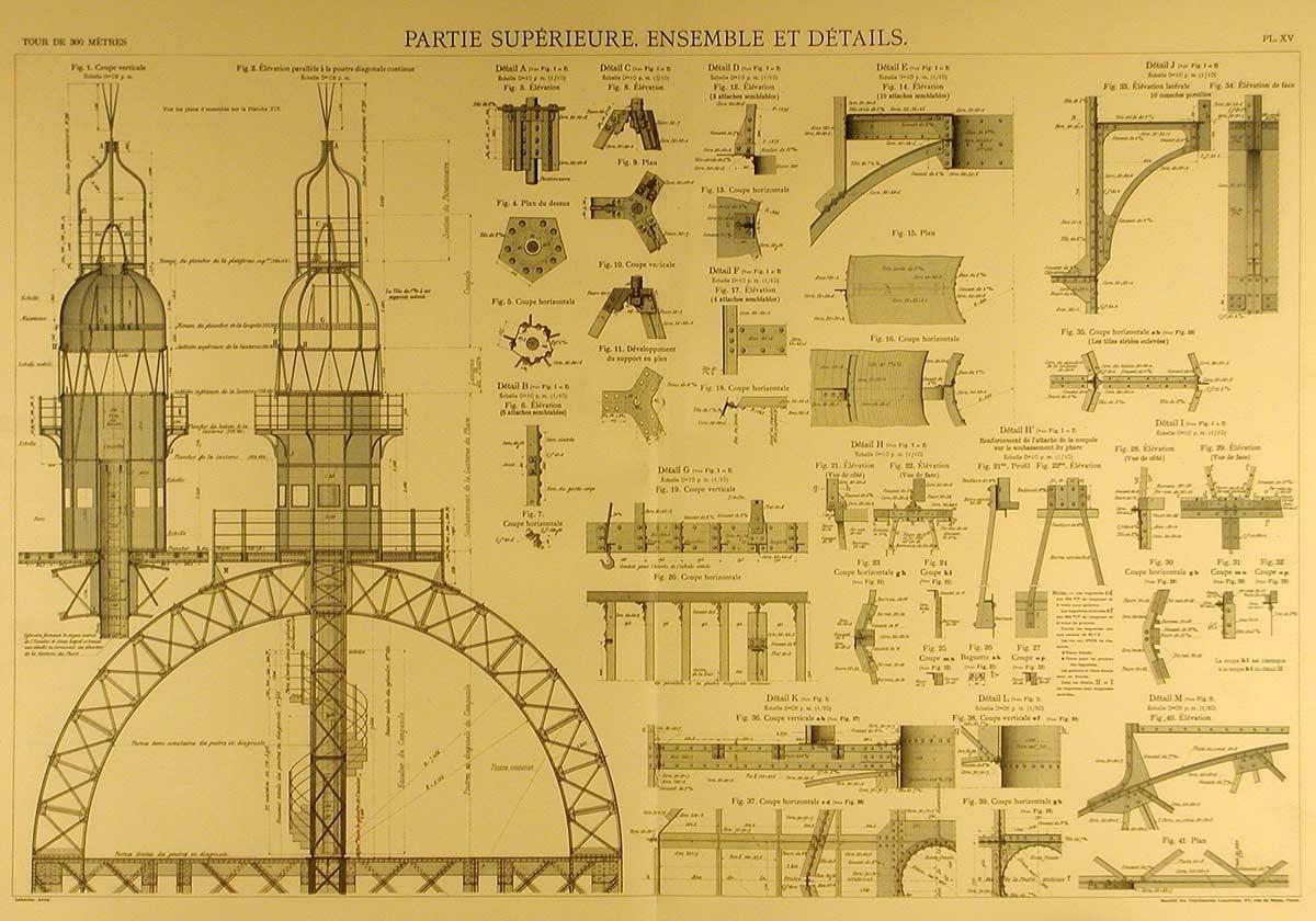 Les plans originaux de la tour eiffel - Les dimensions de la tour eiffel ...