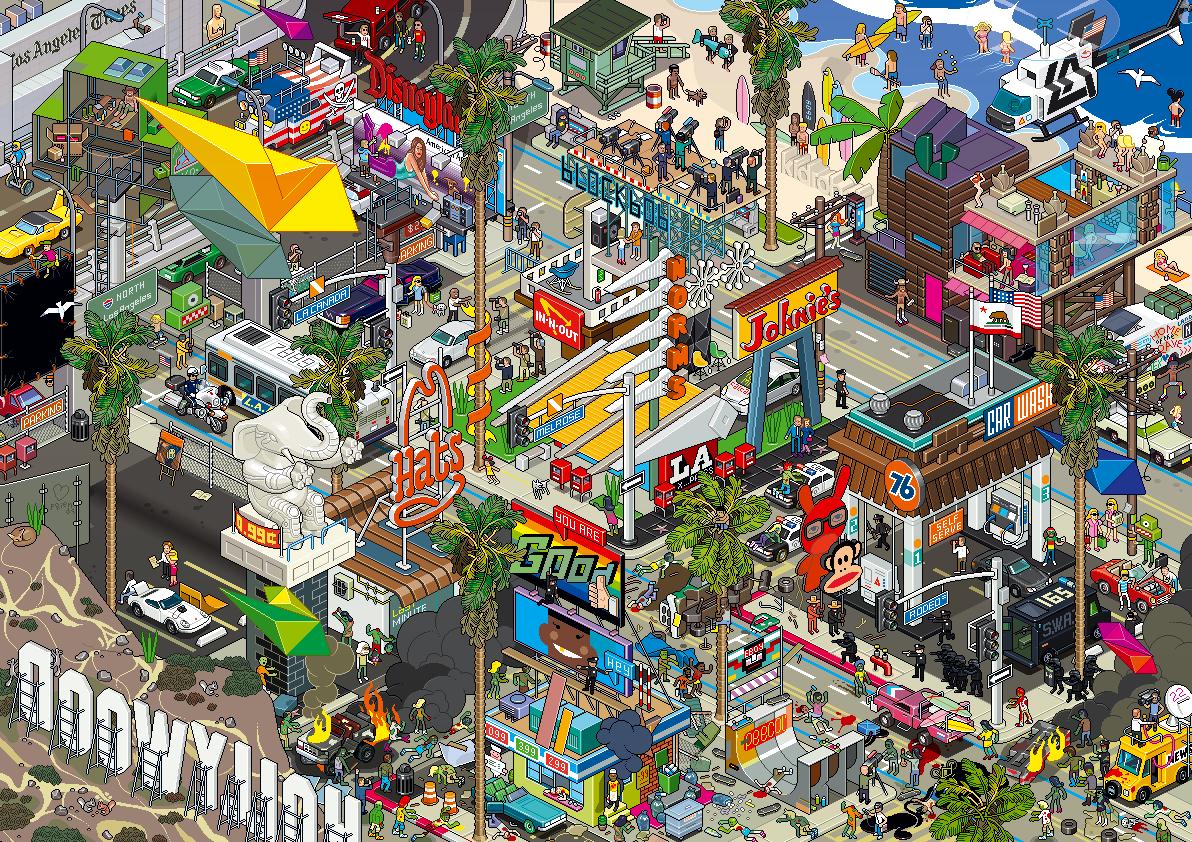Eboy ville pixel art Los Angeles Les villes pixelisés deBoy  design art