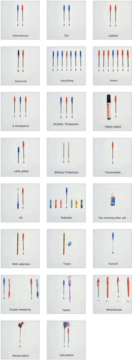 sexe stylo Le sexe expliqué avec des stylos bic