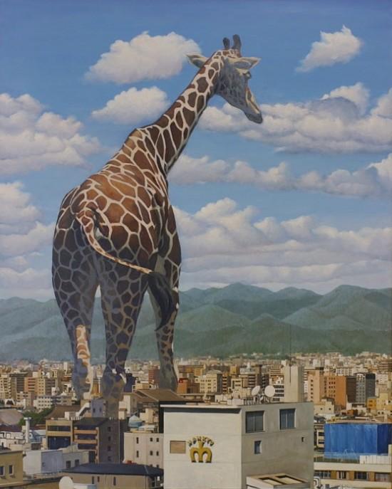Des animaux géants dessinés dans les rues du japon
