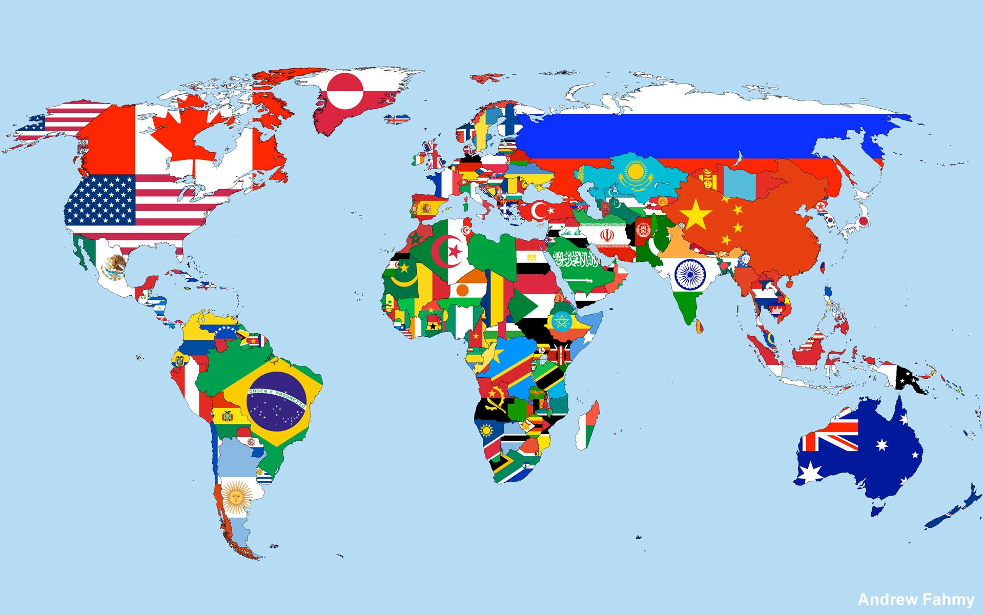Carte du monde des drapeaux