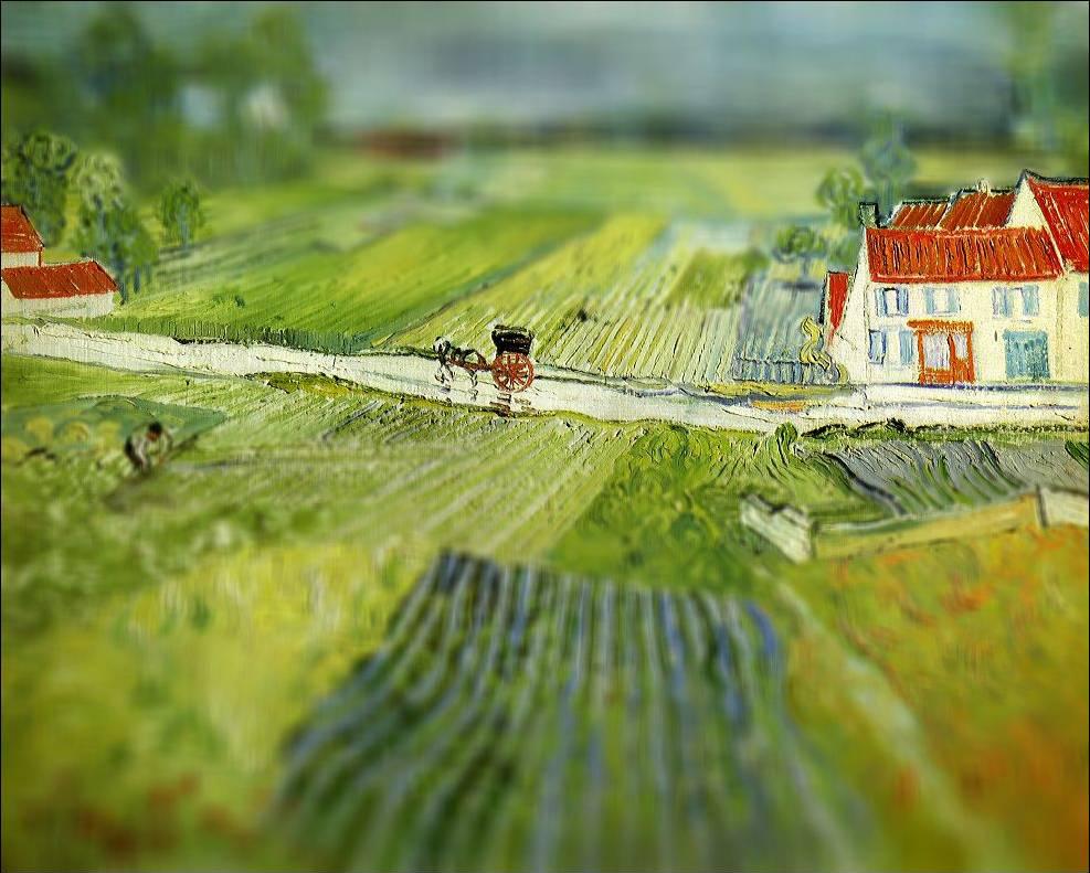 tilt shift van gogh flou paysage peinture perspective 01 Des peintures de Van Gogh avec un effet Tilt Shift