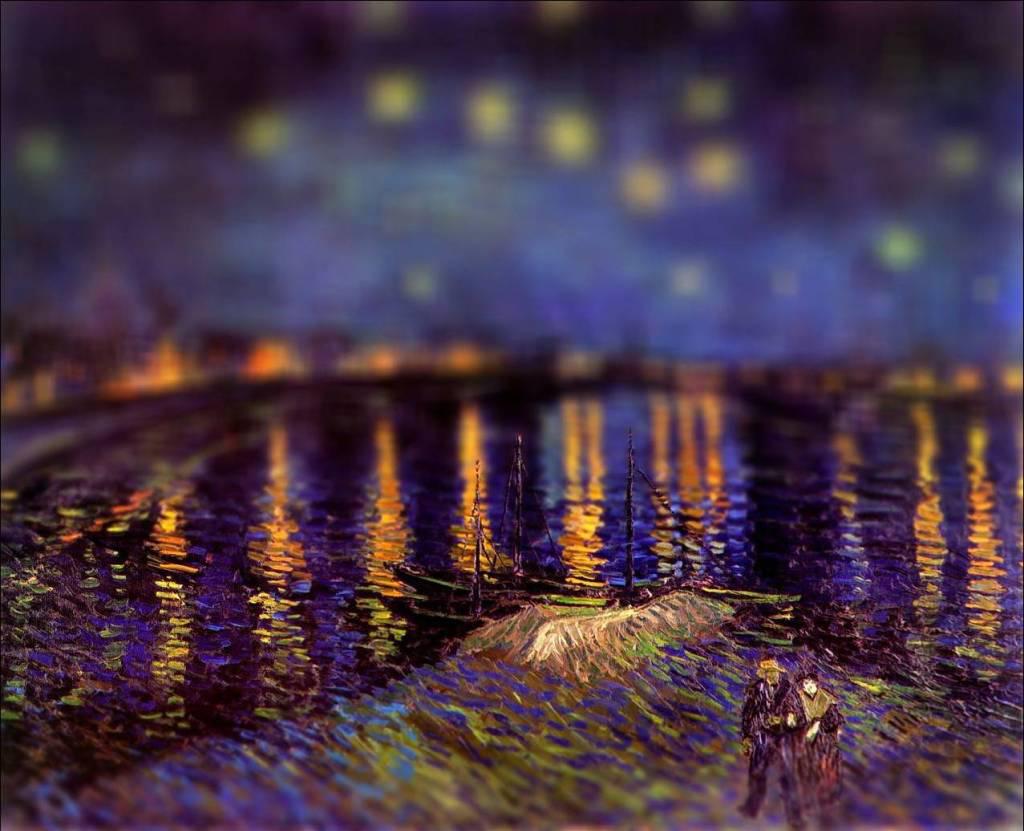 tilt shift van gogh flou paysage peinture perspective 02 Des peintures de Van Gogh avec un effet Tilt Shift