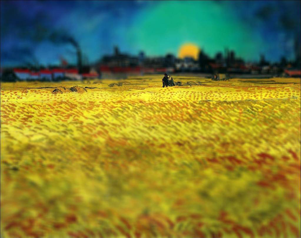tilt shift van gogh flou paysage peinture perspective 03 Des peintures de Van Gogh avec un effet Tilt Shift