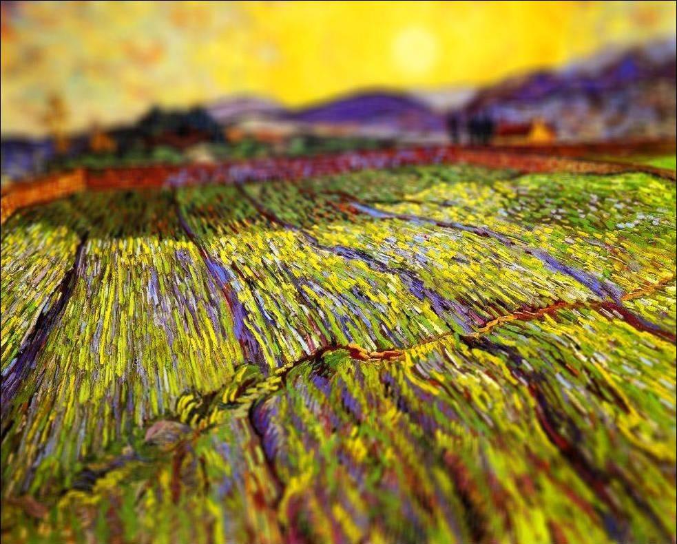 tilt shift van gogh flou paysage peinture perspective 04 Des peintures de Van Gogh avec un effet Tilt Shift