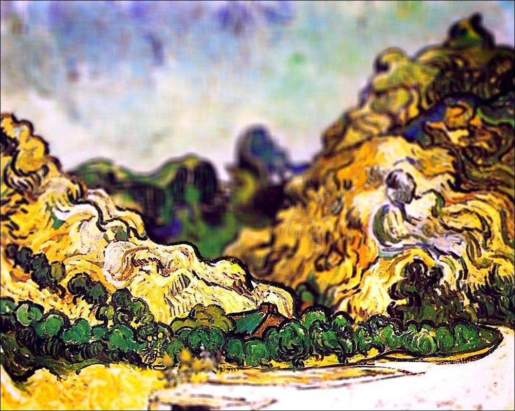 tilt shift van gogh flou paysage peinture perspective 06 Des peintures de Van Gogh avec un effet Tilt Shift