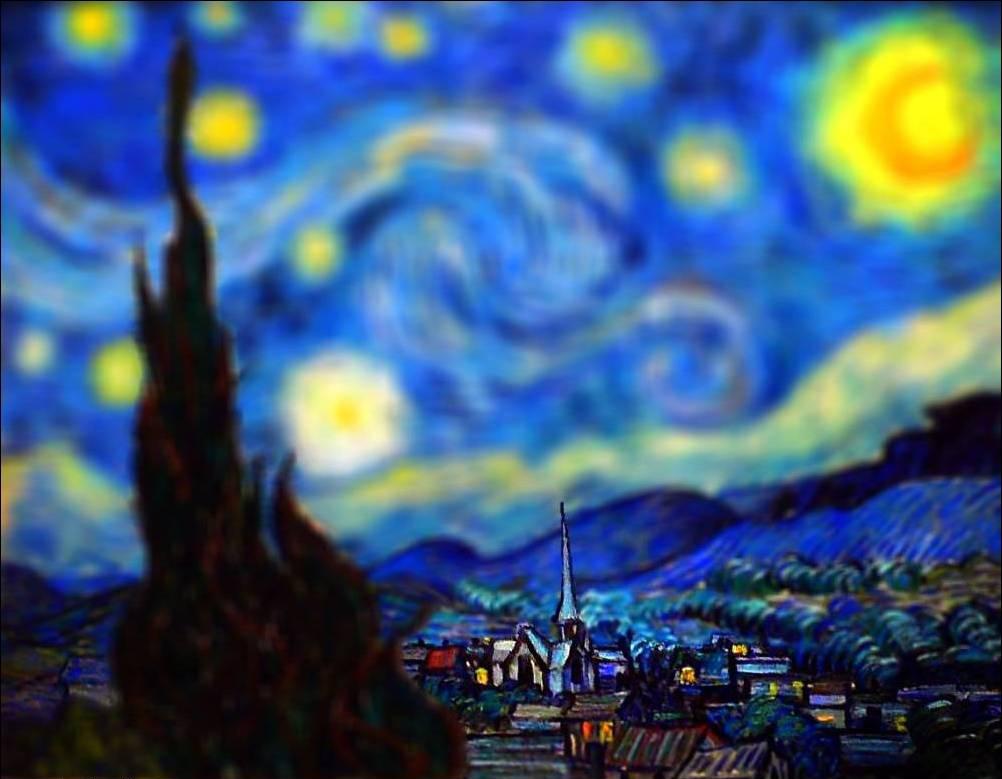 tilt shift van gogh flou paysage peinture perspective 07 Des peintures de Van Gogh avec un effet Tilt Shift