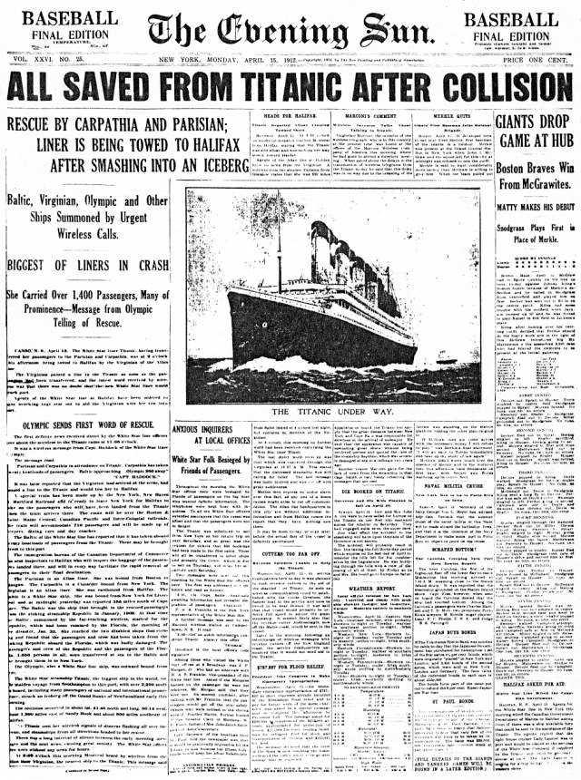 titanic journaux presse newspaper couverture fail 01 Le 15 Avril 1912 la presse annonce la catastrophe du Titanic  histoire featured