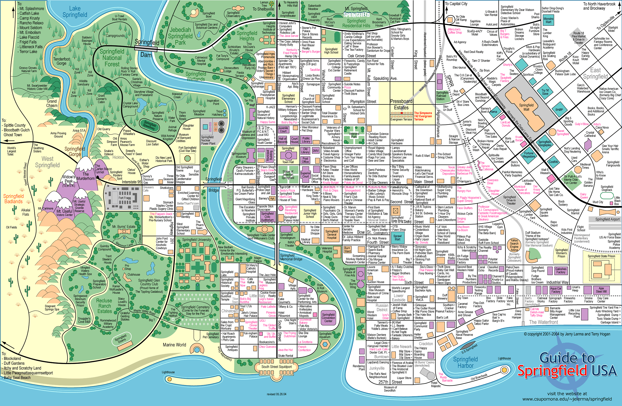 Carte de Springfield des Simpsons