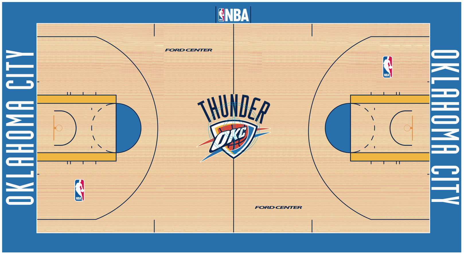 Oklahoma city thunder court wallpaper 161884 for Basketball court plan