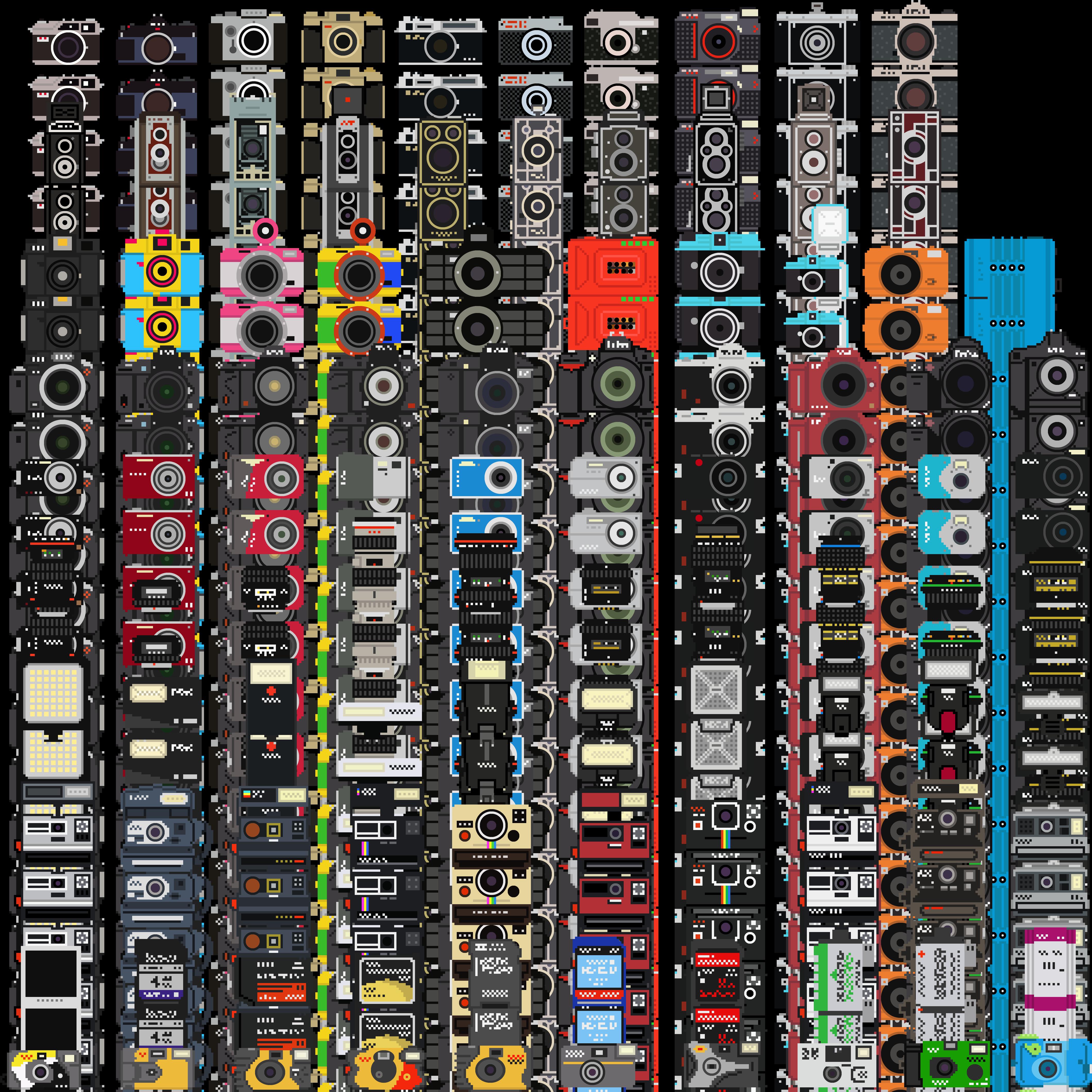 Une Collection Dappareils Photos En Pixel Art