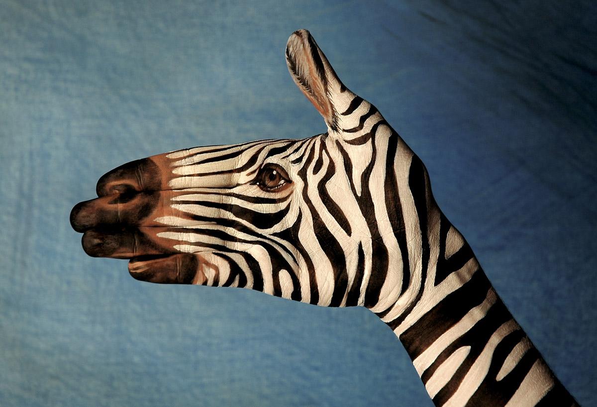 peinture animaux main 01 Peintures d'animaux sur des mains