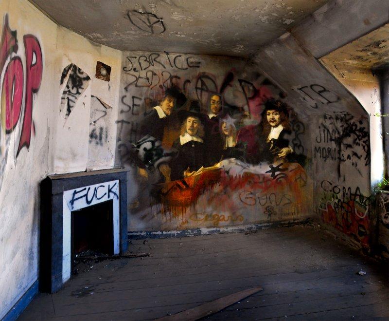 peinture classique grafiti lieu squat abandonne 01 Peintures classiques intégrées dans des lieux abandonnés