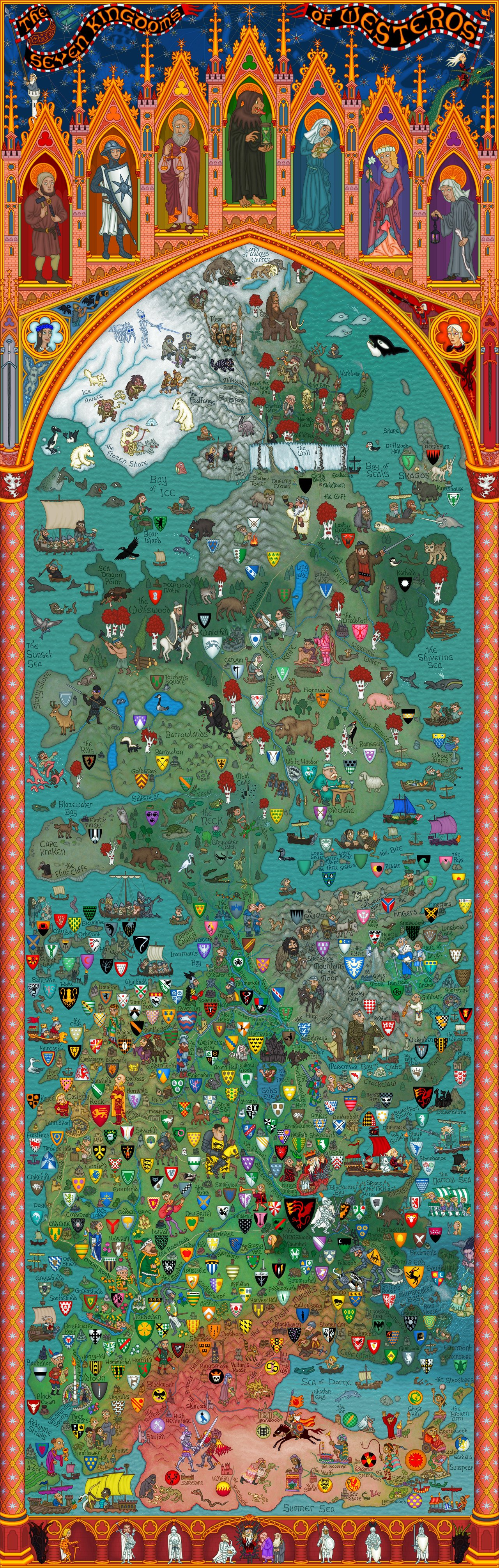 westeros carte monde game thrones Carte du monde de Games Of Thrones  geek bonus