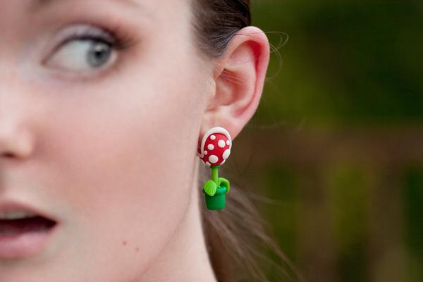 Boucles doreilles en plantes Piranha de Mario boucle oreille plante Piranha Mario 01