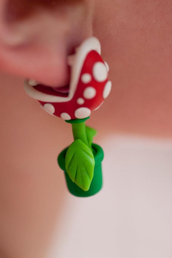 Boucles doreilles en plantes Piranha de Mario boucle oreille plante Piranha Mario 02