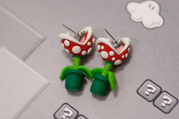 boucle oreille plante Piranha Mario 03 Boucles doreilles en plantes Piranha de Mario