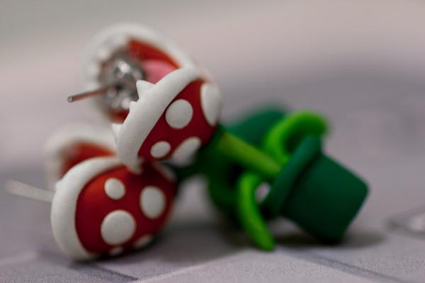 Boucles doreilles en plantes Piranha de Mario boucle oreille plante Piranha Mario 04