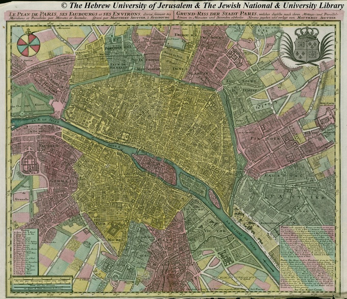 680px 32 Seutter 1760 paris1 Lhistoire de Paris par ses plans