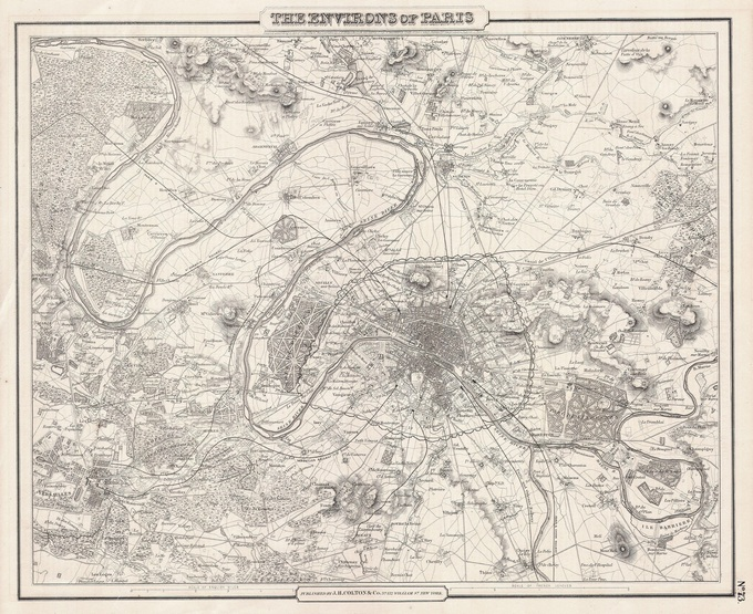 680px 41 1857 Colton Map of Paris France   Geographicus   Paris cbl 1855 Lhistoire de Paris par ses plans