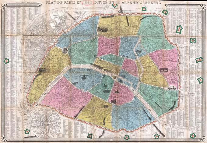 680px 42 plan de paris en 1863 par henriot Lhistoire de Paris par ses plans
