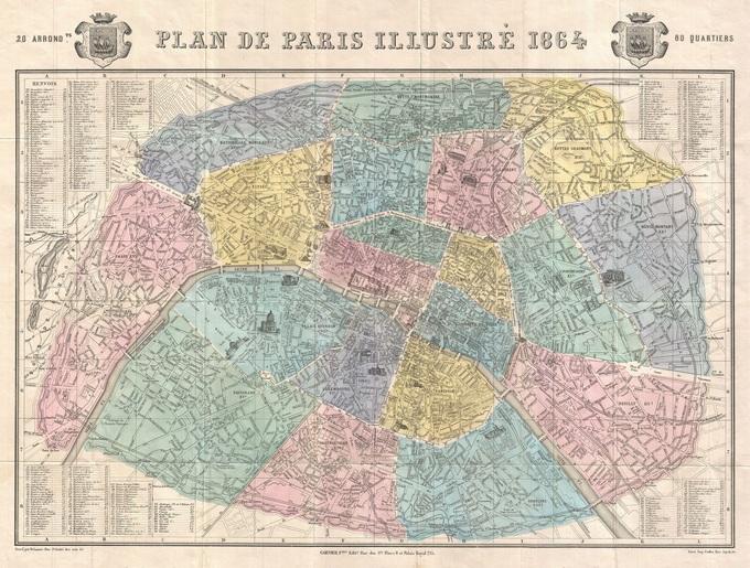 680px 43 plan de paris en 1864 par garnier Lhistoire de Paris par ses plans