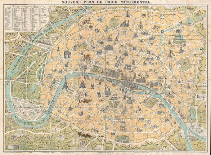 680px 50 plan de paris en 1890 et de ses monuments par guilmin Lhistoire de Paris par ses plans