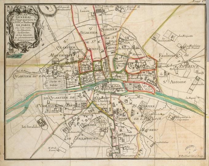 680px 64 Plan general des vingt quartiers de la ville et faubourgs de Paris par Jean Baptiste Scotin Lhistoire de Paris par ses plans