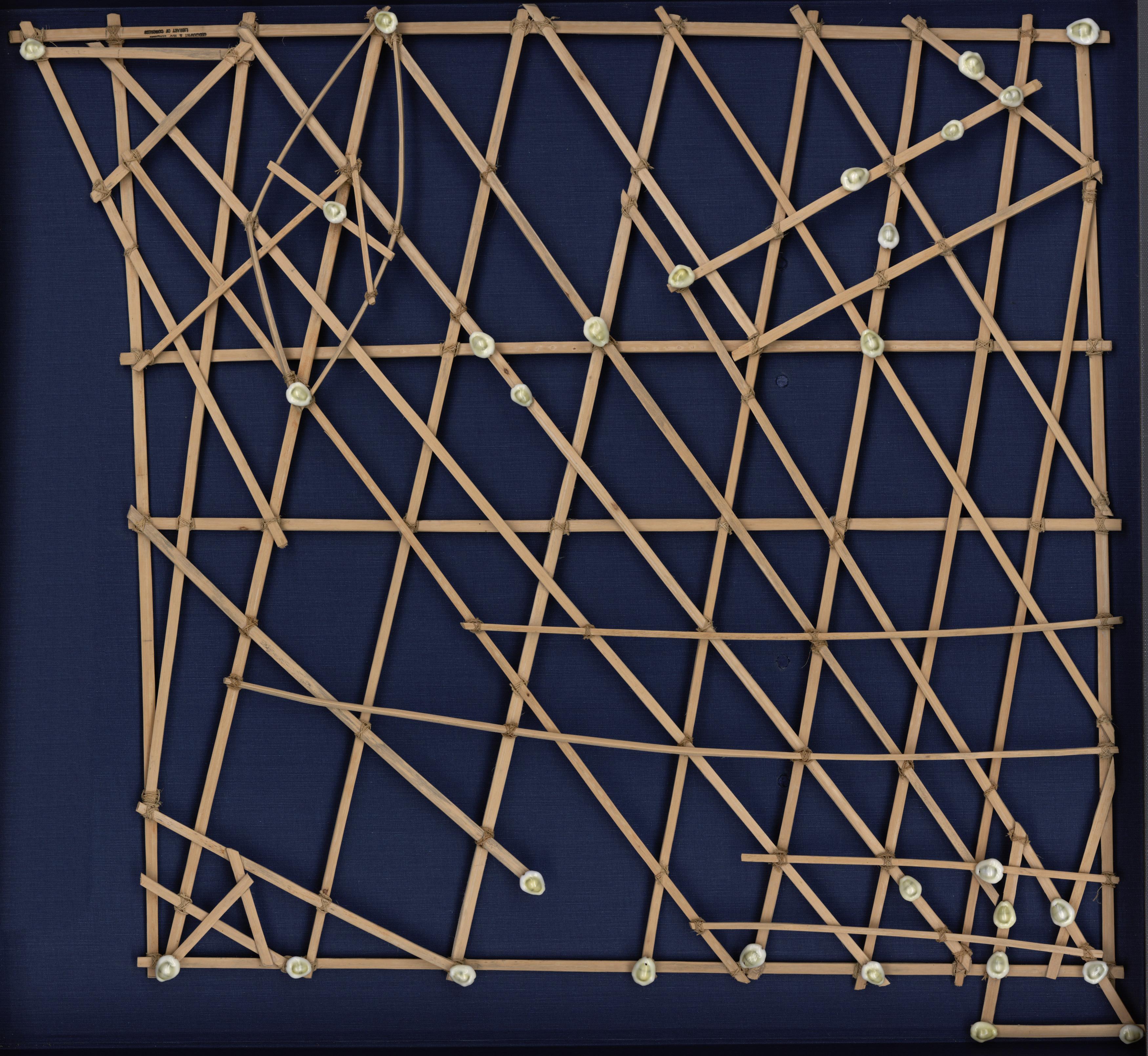 polynesie carte bois baton mer vague 02 Cartes polynésiennes de la houle en bouts de bois