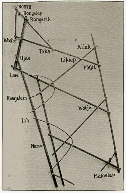 polynesie carte bois baton mer vague 09 Cartes polynésiennes de la houle en bouts de bois