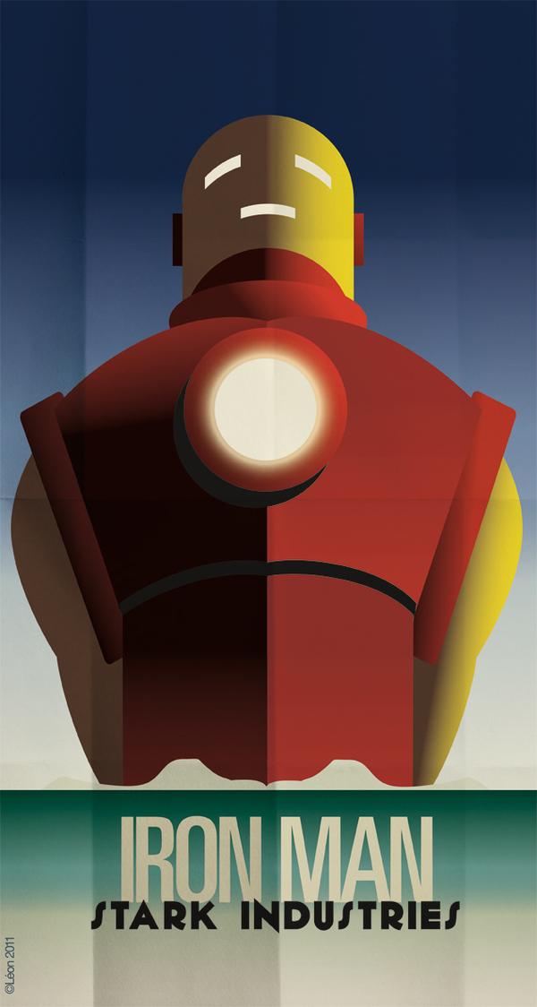 affiche super hero art deco 01 Affiches de super héros façon Art déco  geek design bonus