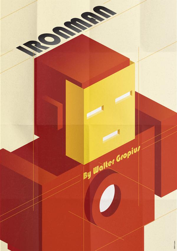 affiche super hero art deco 04 Affiches de super héros façon Art déco  geek design bonus