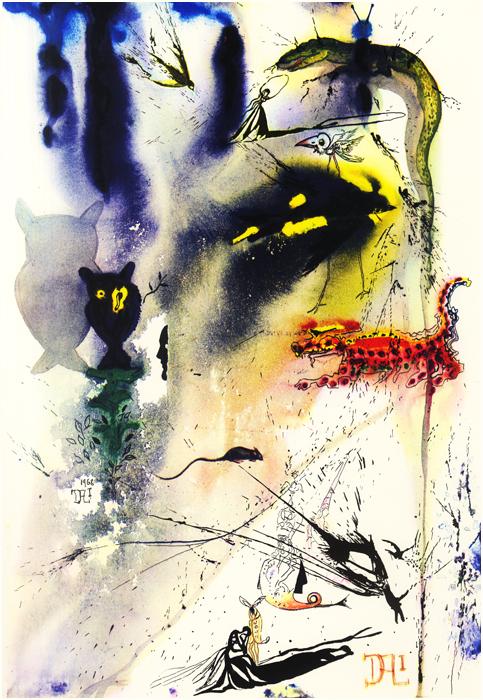 illustration alice pays merveilles dali 04 Salvador Dali illustre Alice au pays des merveilles  peinture 2 design bonus art