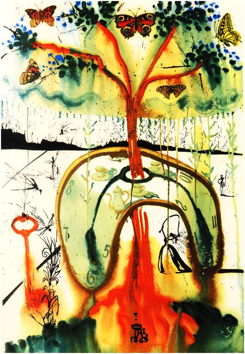 illustration alice pays merveilles dali 05 Salvador Dali illustre Alice au pays des merveilles  peinture 2 design bonus art