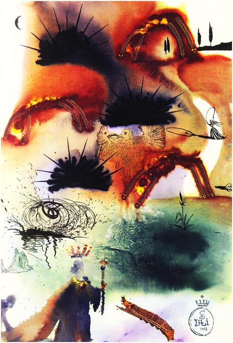 illustration alice pays merveilles dali 10 Salvador Dali illustre Alice au pays des merveilles  peinture 2 design bonus art