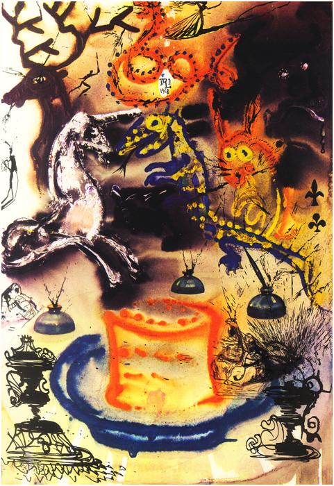 illustration alice pays merveilles dali 11 Salvador Dali illustre Alice au pays des merveilles  peinture 2 design bonus art