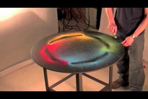Du sable qui vibre sur une table