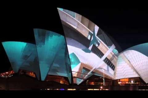 Projection vidéo sur l'opéra de Sydney