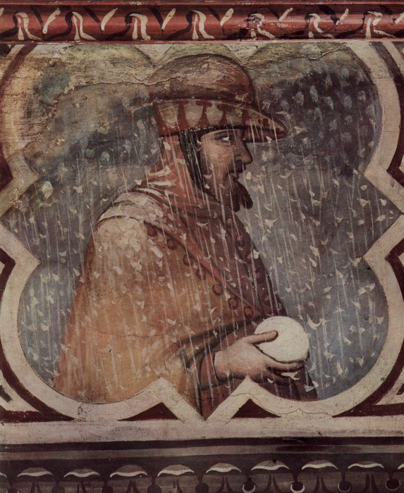 Allegory of Winter by Ambrogio Lorenzetti fresco at the Palazzo Publico in Siena c. 1338 1340 573x700 Batailles de boules de neige au Moyen Age