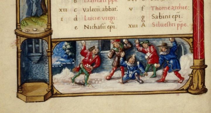 Book of hours second quarter of the 16th century 720x387 Batailles de boules de neige au Moyen Age