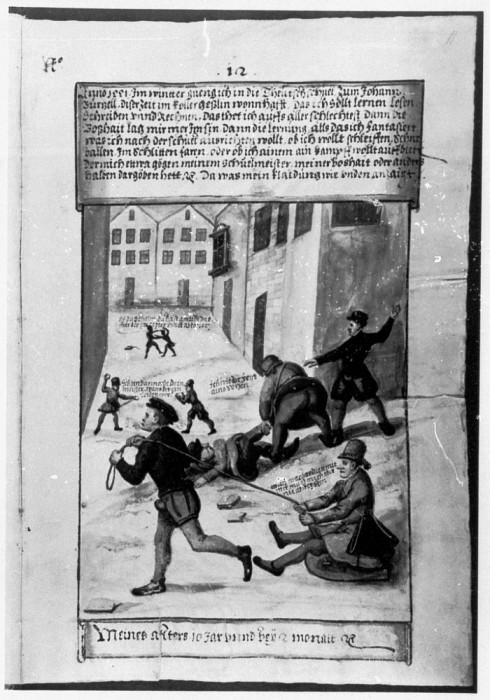 Conrad age ten plays in the snow in the Schwartz Trachtenbuch 1561 490x700 Batailles de boules de neige au Moyen Age