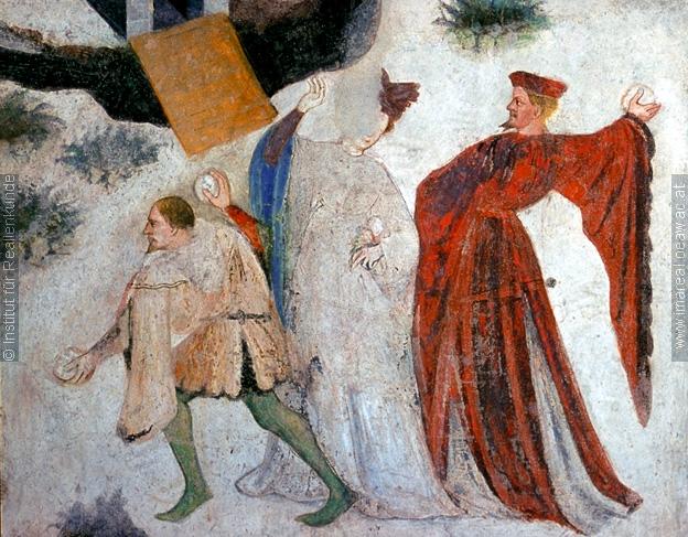 Details from the January fresco at Castello Buonconsiglio c. 1405 1410 II Batailles de boules de neige au Moyen Age