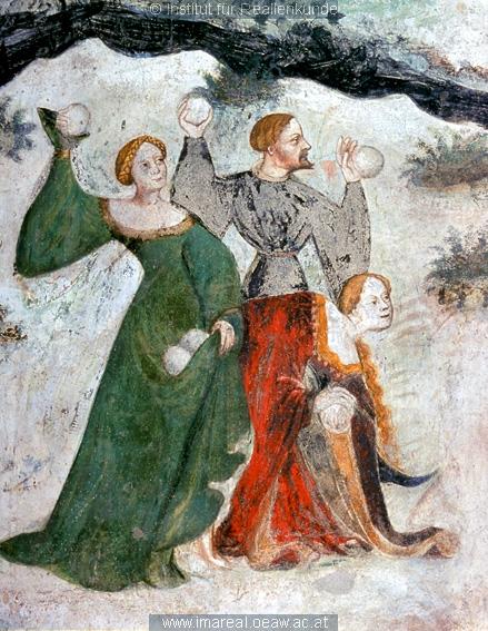 Details from the January fresco at Castello Buonconsiglio c. 1405 1410 Batailles de boules de neige au Moyen Age