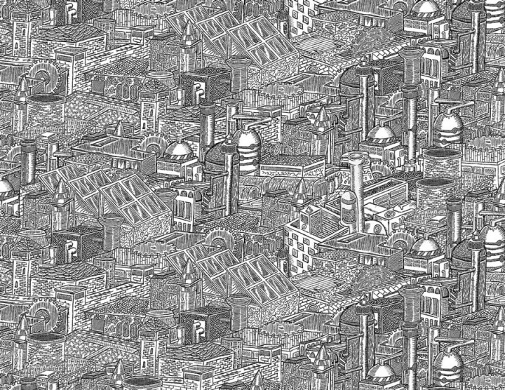 dessin minutieu 01 720x556 Des dessins minutieux en noir et blanc