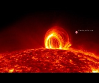 Une pluie de feu à la surface du soleil