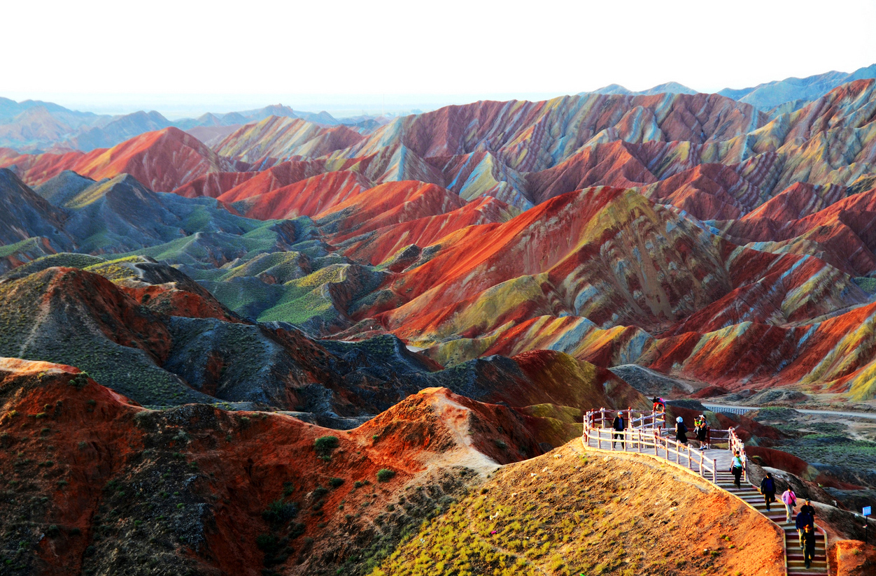 Colorful landform of mountains in China