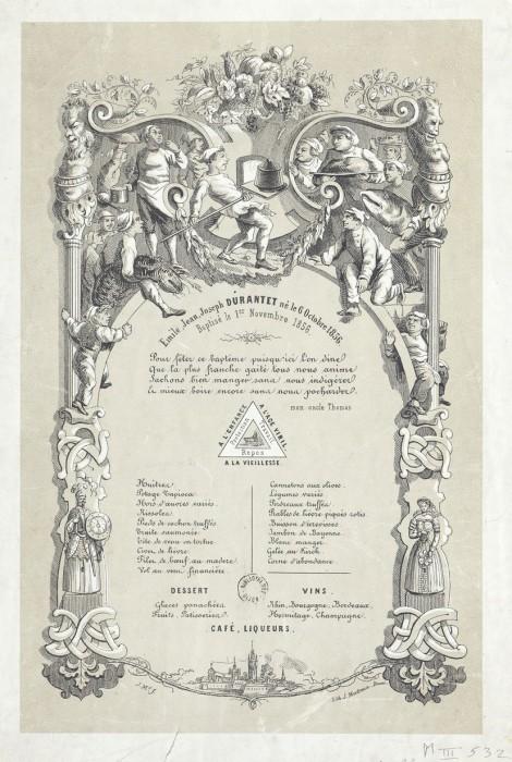 bapteme 1856 470x700 Lhistoire des menus  liens histoire divers bonus