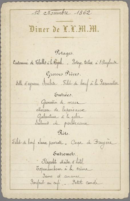 Dîner de l'Empereur Napoléon III et l'Impératrice Eugénie au Palais des Tuileries  - 12 novembre 1862 - Bibliothèque municipale de Dijon